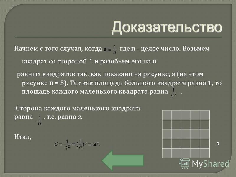 Начнем с того случая, когда где n - целое число. Возьмем квадрат со стороной 1 и разобьем его на n равных квадратов так, как показано на рисунке, а ( на этом рисунке n = 5). Так как площадь большого квадрата равна 1, то площадь каждого маленького ква