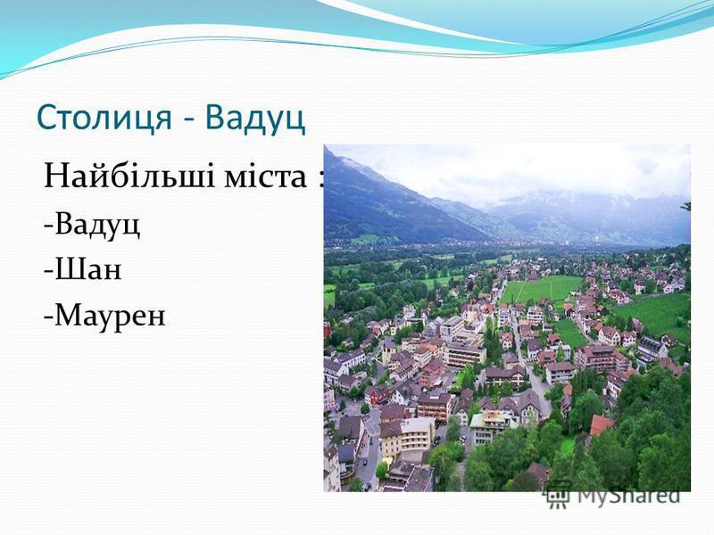 Столиця - Вадуц Найбільші міста : -Вадуц -Шан -Маурен