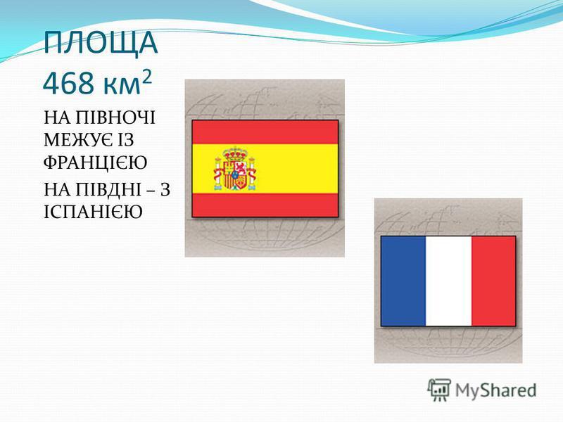 ПЛОЩА 468 км 2 НА ПІВНОЧІ МЕЖУЄ ІЗ ФРАНЦІЄЮ НА ПІВДНІ – З ІСПАНІЄЮ
