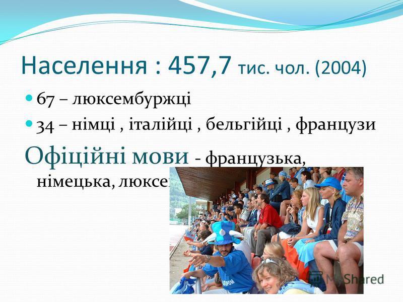 Населення : 457,7 тис. чол. (2004) 67 – люксембуржці 34 – німці, італійці, бельгійці, французи Офіційні мови - французька, німецька, люксембургс ь ка