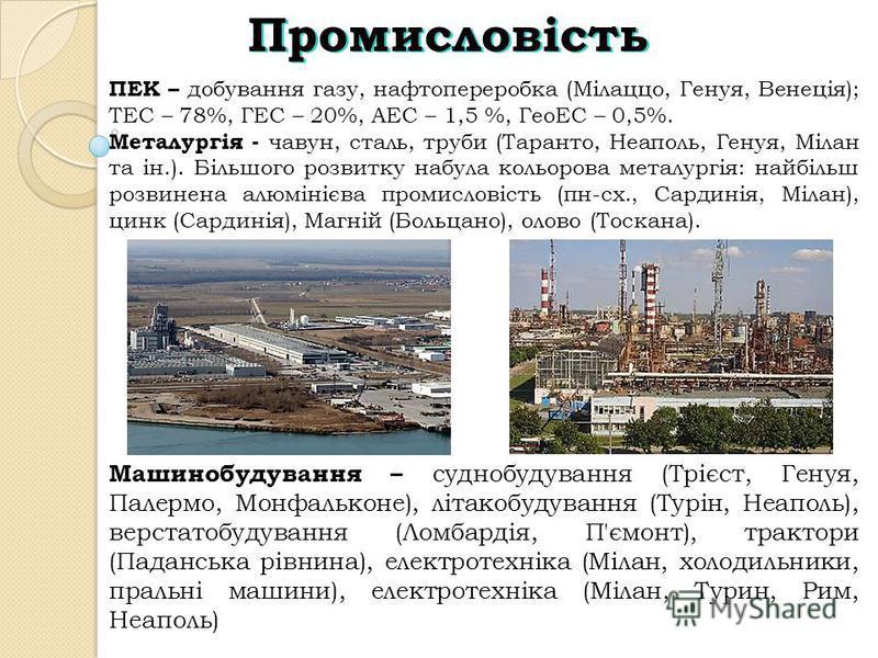 Промисловість ПЕК – добування газу, нафтопереробка (Мілаццо, Генуя, Венеція); ТЕС – 78%, ГЕС – 20%, АЕС – 1,5 %, ГеоЕС – 0,5%. Металургія - чавун, сталь, труби (Таранто, Неаполь, Генуя, Мілан та ін.). Більшого розвитку набула кольорова металургія: на