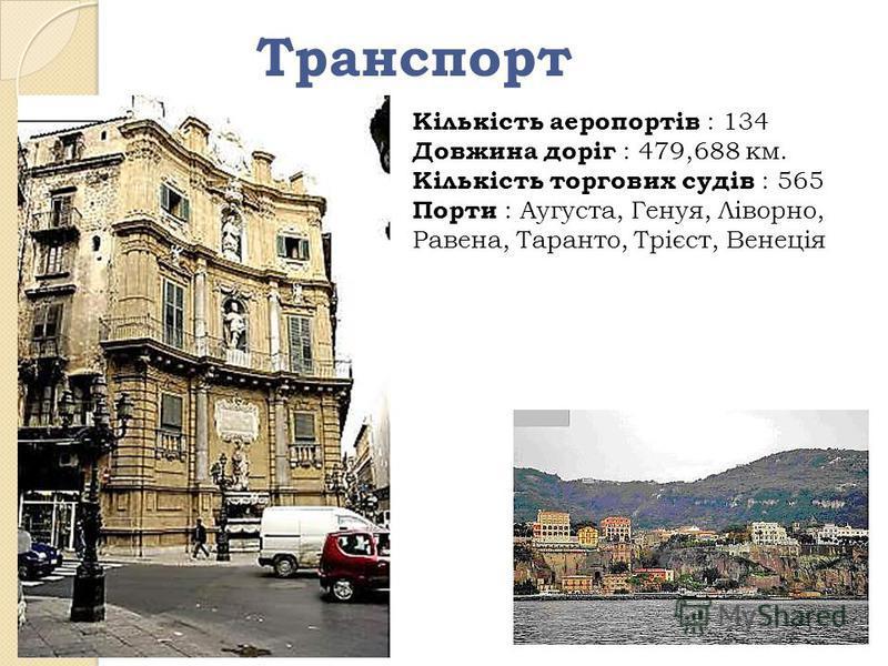 Транспорт Кількість аеропортів : 134 Довжина доріг : 479,688 км. Кількість торгових судів : 565 Порти : Аугуста, Генуя, Ліворно, Равена, Таранто, Трієст, Венеція
