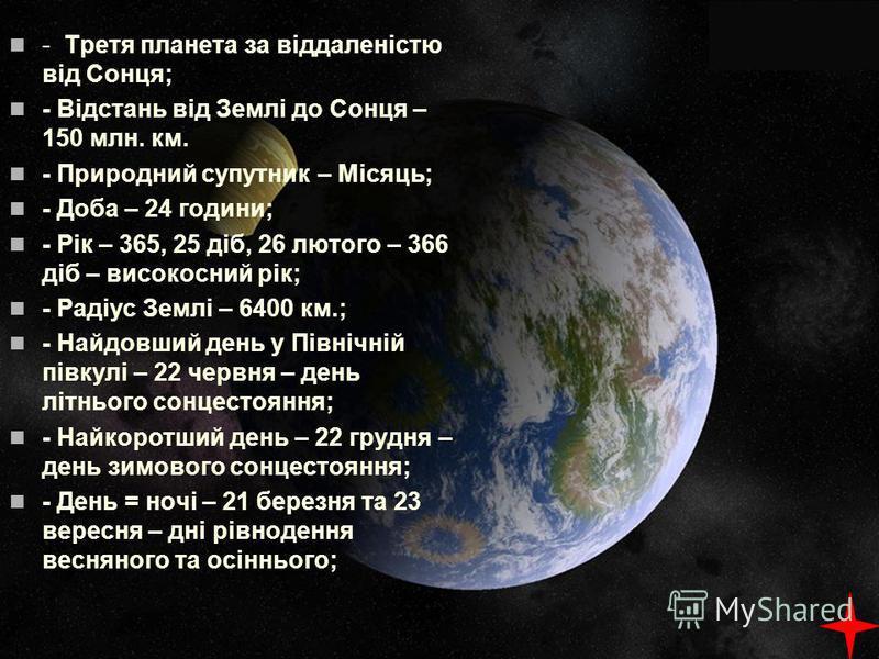 - Третя планета за віддаленістю від Сонця; - Відстань від Землі до Сонця – 150 млн. км. - Природний супутник – Місяць; - Доба – 24 години; - Рік – 365, 25 діб, 26 лютого – 366 діб – високосний рік; - Радіус Землі – 6400 км.; - Найдовший день у Північ