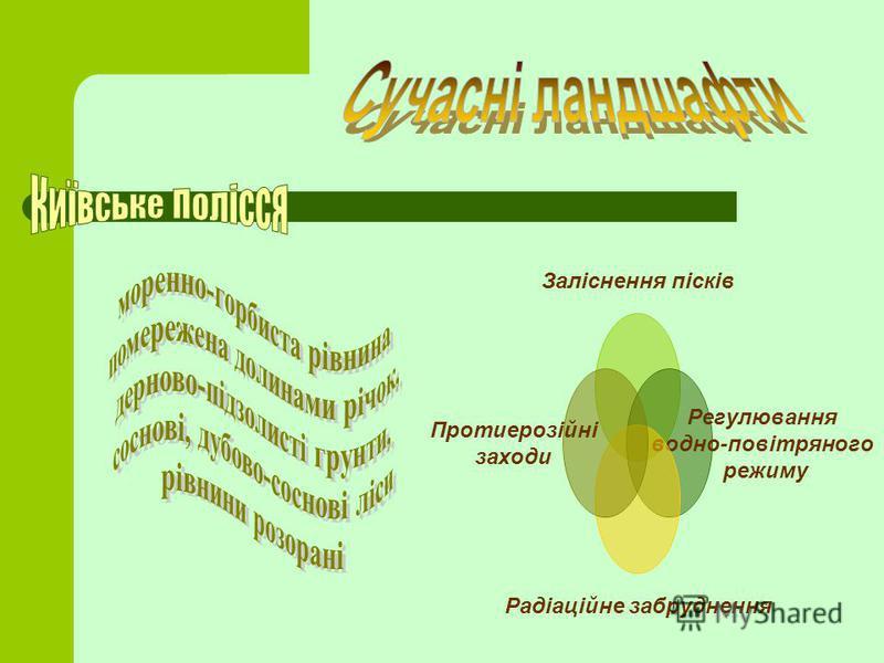 Заліснення пісків Регулювання водно- повітряного режиму Радіаційне забруднення Протиерозійні заходи