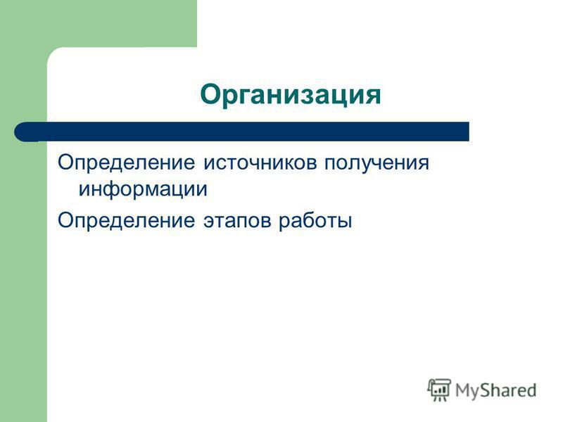 Организация Определение источников получения информации Определение этапов работы