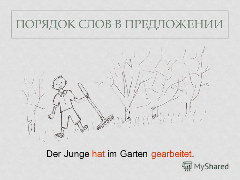 ПОРЯДОК СЛОВ В ПРЕДЛОЖЕНИИ Der Junge hat im Garten gearbeitet.