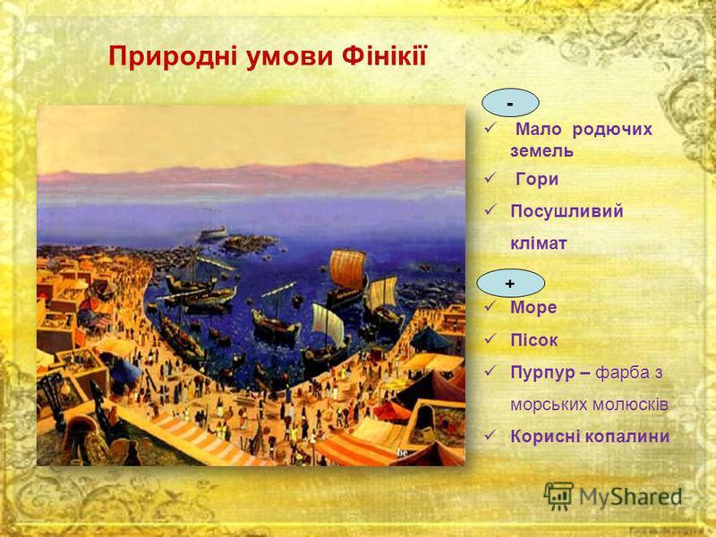 Природні умови Фінікії Мало родючих земель Гори Посушливий клімат Море Пісок Пурпур – фарба з морських молюсків Корисні копалини - +