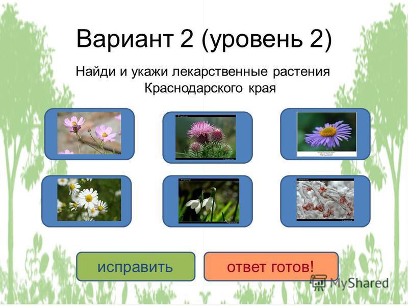 Вариант 2 (уровень 2) Найди и укажи лекарственные растения Краснодарского края ДА НЕТ исправить ответ готов!