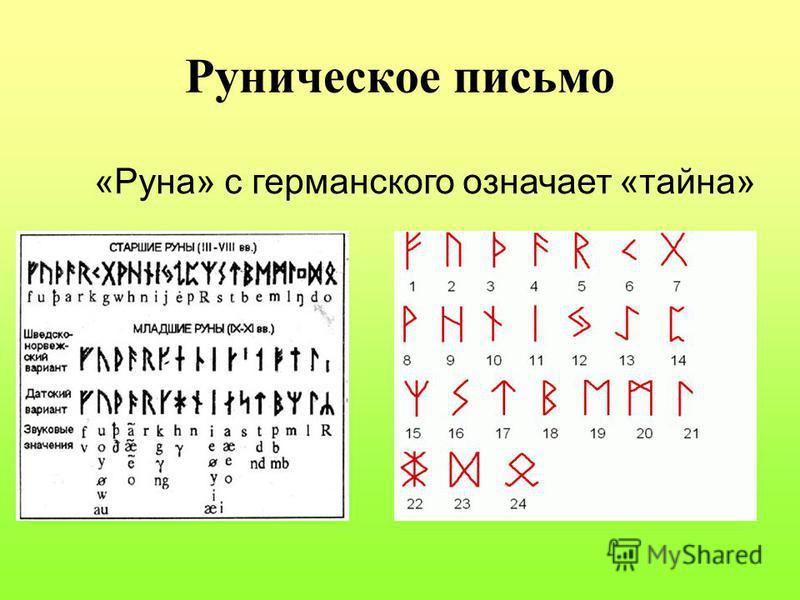 Руническое письмо «Руна» с германского означает «тайна»