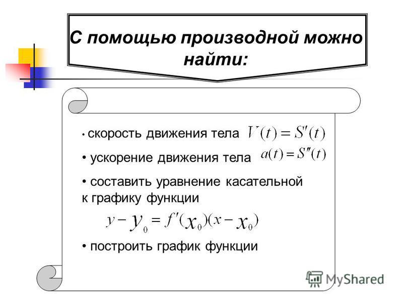 С помощью производной можно найти: скорость движения тела ускорение движения тела составить уравнение касссательной к графику функции построить график функции