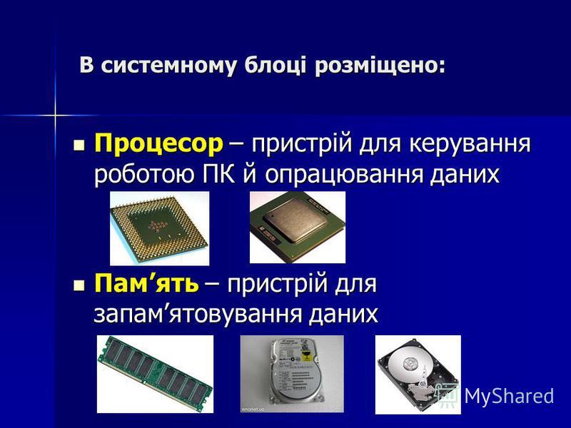 В системному блоці розміщено: В системному блоці розміщено: Процесор – пристрій для керування роботою ПК й опрацювання даних Процесор – пристрій для керування роботою ПК й опрацювання даних Память – пристрій для запамятовування даних Память – пристрі