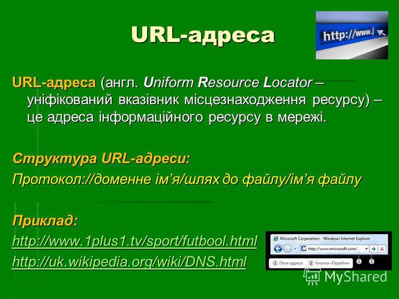 URL-адреса URL-адреса (англ. Uniform Resource Locator – уніфікований вказівник місцезнаходження ресурсу) – це адреса інформаційного ресурсу в мережі. Структура URL-адреси: Протокол://доменне імя/шлях до файлу/імя файлу Приклад: http://www.1plus1.tv/s