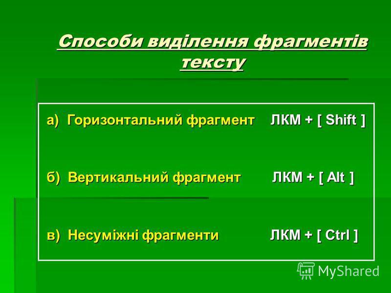 Способи виділення фрагментів тексту а) Горизонтальний фрагмент ЛКМ + [ Shift ] а) Горизонтальний фрагмент ЛКМ + [ Shift ] б) Вертикальний фрагмент ЛКМ + [ Alt ] б) Вертикальний фрагмент ЛКМ + [ Alt ] в) Несуміжні фрагменти ЛКМ + [ Ctrl ] в) Несуміжні