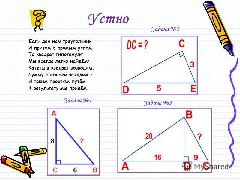 Устно Задача 1 Задача 2 Если дан нам треугольник И притом с прямым углом, То квадрат гипотенузы Мы всегда легко найдём: Катеты в квадрат возводим, Сумму степеней находим – И таким простым путём К результату мы придём. Задача 3
