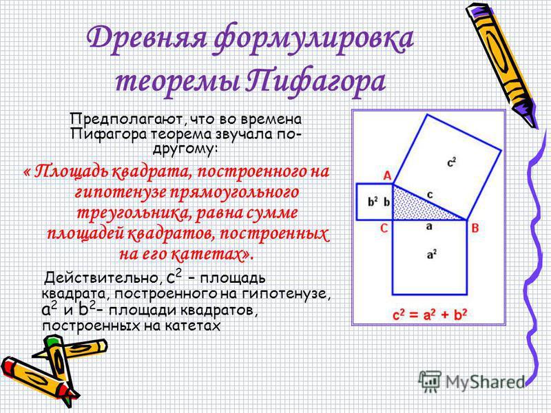 Древняя формулировка теоремы Пифагора Предполагают, что во времена Пифагора теорема звучала по- другому: « Площадь квадрата, построенного на гипотенузе прямоугольного треугольника, равна сумме площадей квадратов, построенных на его катетах». Действит