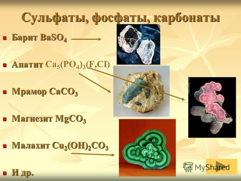 Сульфаты, фосфаты, карбонаты Барит BaSO 4 Барит BaSO 4 Апатит Ca 5 (PO 4 ) 3 (F,CI) Апатит Ca 5 (PO 4 ) 3 (F,CI) Мрамор CaCO 3 Мрамор CaCO 3 Магнезит MgCO 3 Магнезит MgCO 3 Малахит Cu 2 (OH) 2 CO 3 Малахит Cu 2 (OH) 2 CO 3 И др. И др.