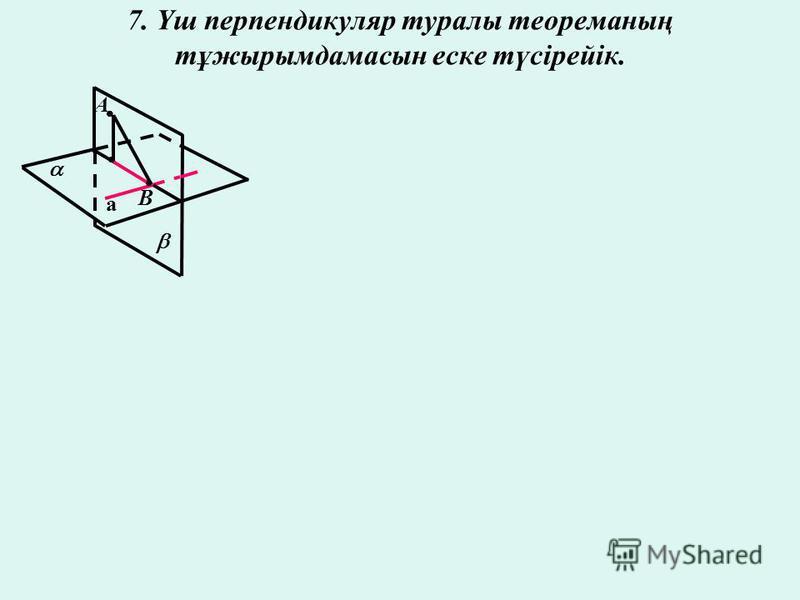 7. Үш перпендикуляр туралы теореманың тұжырымдамасын еске түсірейік. А В а