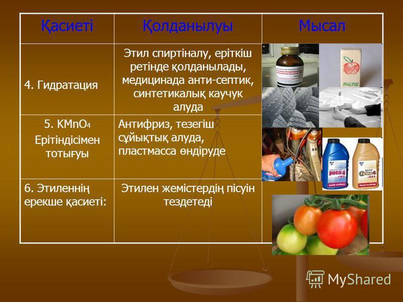 ҚасиетіҚолданылуыМысал 4. Гидратация Этил спиртіналу, еріткіш ретінде қолданылады, медицинада анти-септик, синтетикалық каучук алуда 5. KMnO 4 Ерітіндісімен тотығуы Антифриз, тезегіш сұйықтық алуда, пластмасса өндіруде 6. Этиленнің ерекше қасиеті: Эт