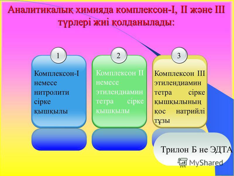 Аналитикалық химияда комплексон-I, II және III түрлері жиі қолданылады: 1 Комплексон-I немесе нитролити сірке қышқылы 2 Комплексон ІІ немесе этилендиамин тетра сірке қышқылы 3 Комплексон ІІІ этилендиамин тетра сірке қышқылының қос натрийлі тұзы Трило