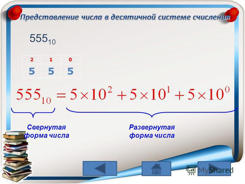 210 555 555 10 Свернутая форма числа Развернутая форма числа