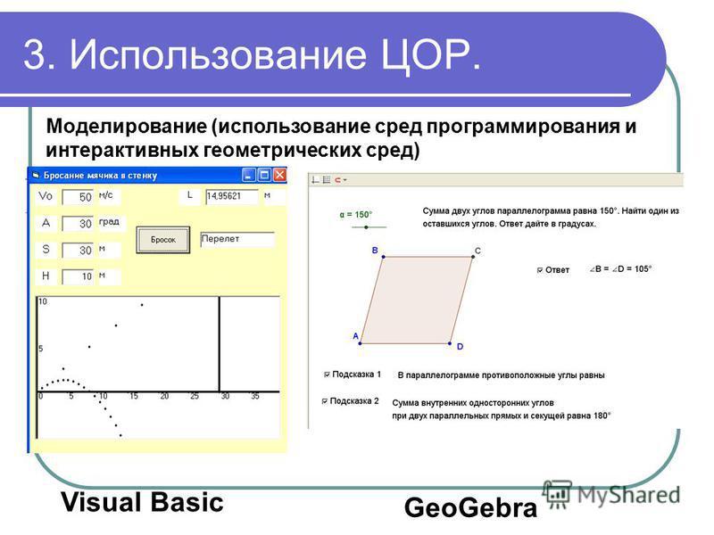 3. Использование ЦОР. Моделирование (использование сред программирования и интерактивных геометрических сред) Visual Basic GeoGebra