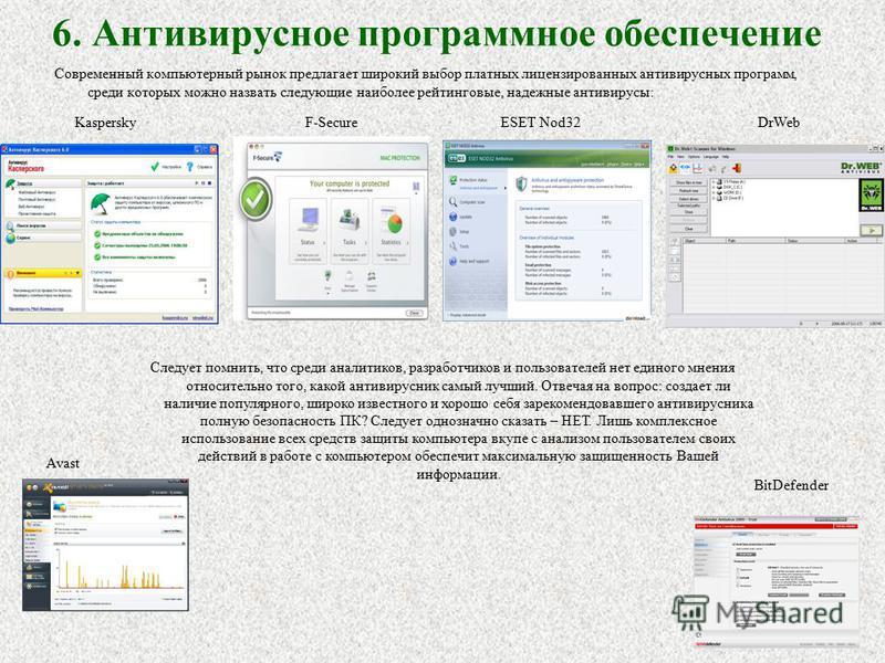 6. Антивирусное программное обеспечение Современный компьютерный рынок предлагает широкий выбор платных лицензированных антивирусных программ, среди которых можно назвать следующие наиболее рейтинговые, надежные антивирусы: KasperskyF-SecureDrWebESET