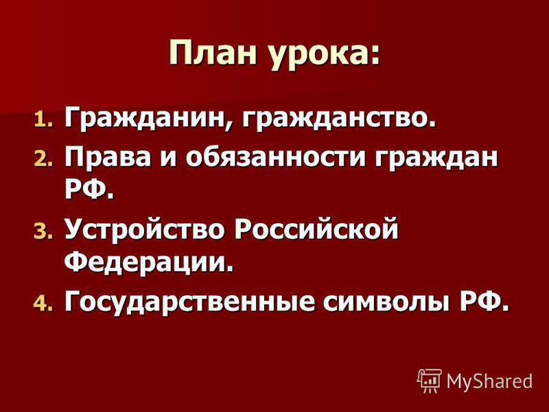 «Я гражданин – РФ». Тема урока: