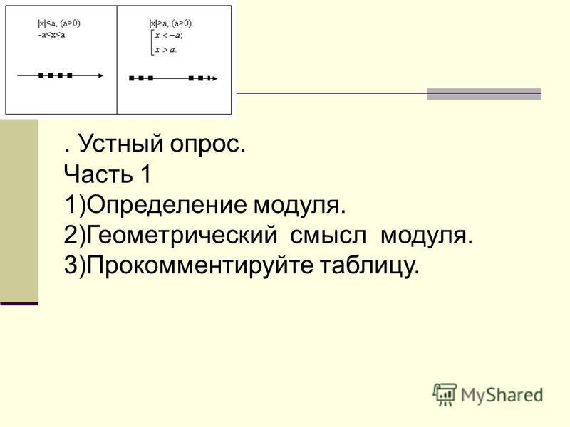 . Устный опрос. Часть 1 1)Определение модуля. 2)Геометрический смысл модуля. 3)Прокомментируйте таблицу.