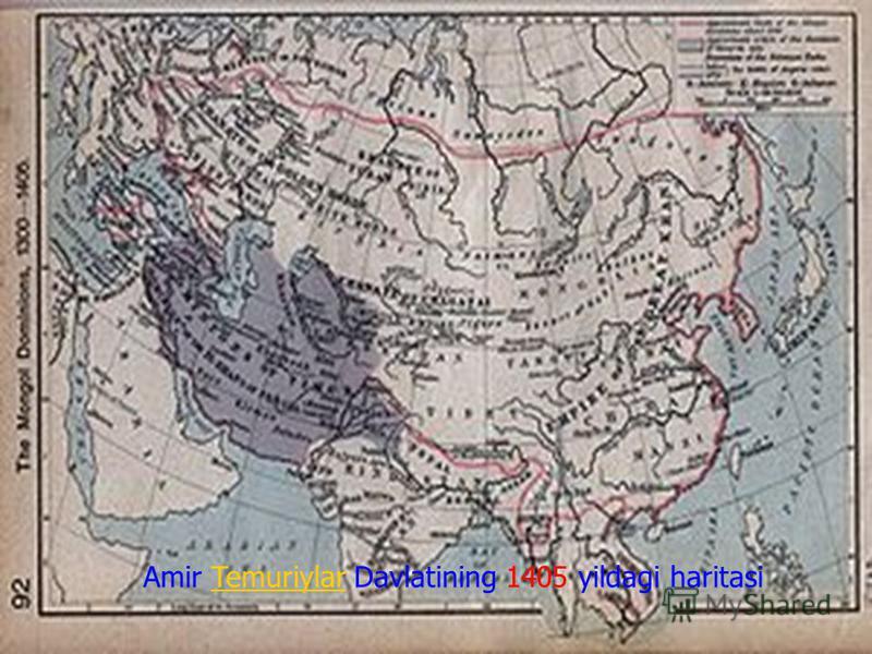 Amir Temuriylar Davlatining 1405 yildagi haritasi