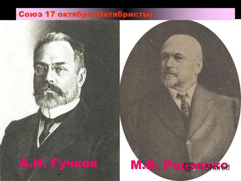 Союз 17 октября (Октябристы) А.И. Гучков - М.В. Родзянко