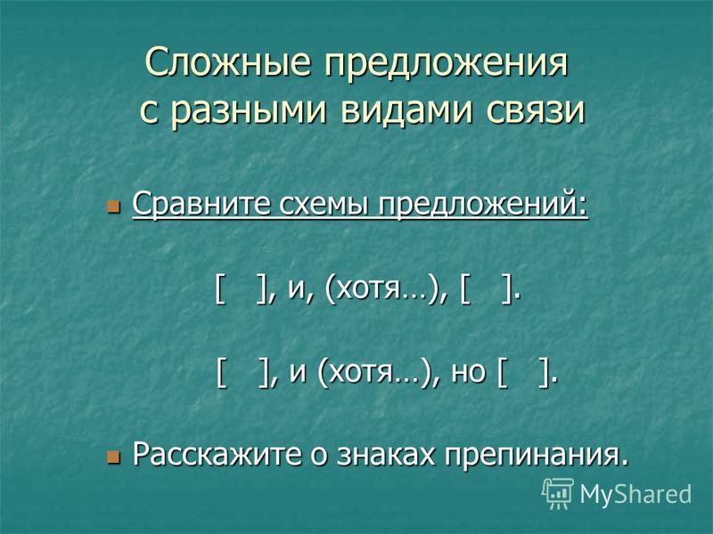 Сложные предложения с разными видами связи Сравните схемы предложений: Сравните схемы предложений: [ ], и, (хотя…), [ ]. [ ], и (хотя…), но [ ]. [ ], и (хотя…), но [ ]. Расскажите о знаках препинания. Расскажите о знаках препинания.