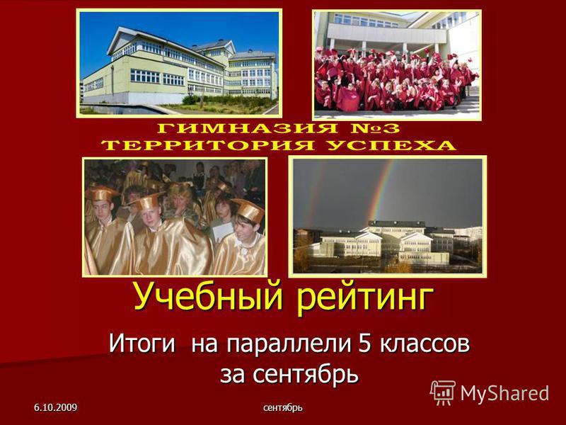 6.10.2009 сентябрь Учебный рейтинг Итоги на параллели 5 классов за сентябрь