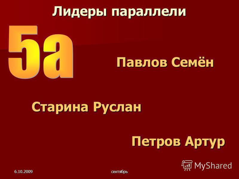 6.10.2009 сентябрь Лидеры параллели Петров Артур Старина Руслан Павлов Семён