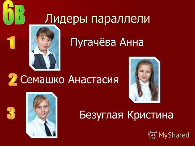 Лидеры параллели Пугачёва Анна Семашко Анастасия Безуглая Кристина