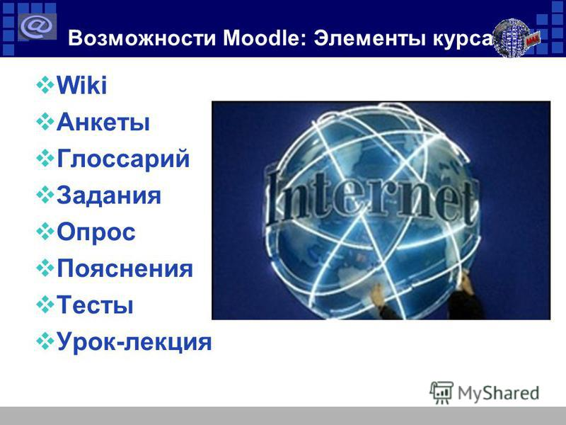 Возможности Moodle: Элементы курса Wiki Анкеты Глоссарий Задания Опрос Пояснения Тесты Урок-лекция