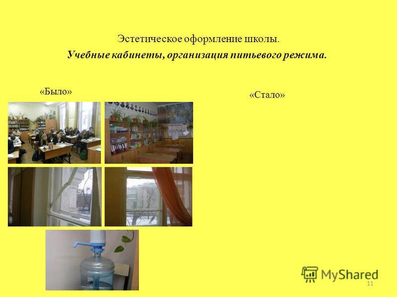 Эстетическое оформление школы. Учебные кабинеты, организация питьевого режима. «Было» «Стало» 11
