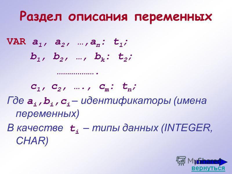 Раздел описания переменных VAR а 1, а 2, …,а п : t 1 ; b 1, b 2, …, b k : t 2 ; ………………. c 1, c 2, …., c m : t n ; Где a i,b i,c i – идентификаторы (имена переменных) В качестве t i – типы данных (INTEGER, CHAR) вернуться