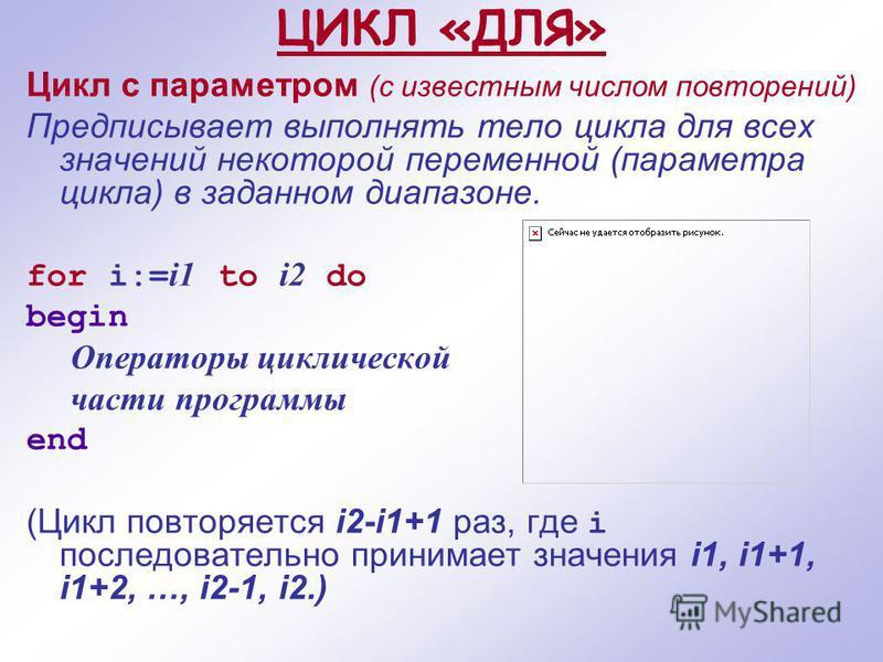 ЦИКЛ «ДЛЯ» Цикл с параметром (с известным числом повторений) Предписывает выполнять тело цикла для всех значений некоторой переменной (параметра цикла) в заданном диапазоне. for i:= i1 to i2 do begin Операторы циклической части программы end (Цикл по