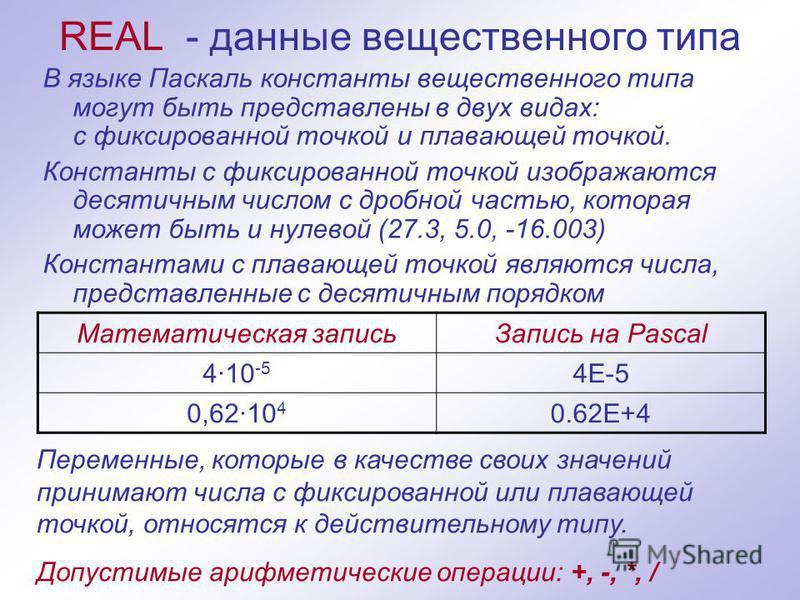 REAL - данные вещественного типа В языке Паскаль константы вещественного типа могут быть представлены в двух видах: с фиксированной точкой и плавающей точкой. Константы с фиксированной точкой изображаются десятичным числом с дробной частью, которая м