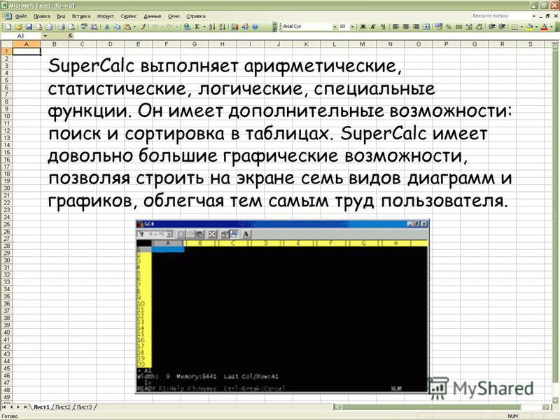 SuperCalc выполняет арифметические, статистические, логические, специальные функции. Он имеет дополнительные возможности: поиск и сортировка в таблицах. SuperCalc имеет довольно большие графические возможности, позволяя строить на экране семь видов д