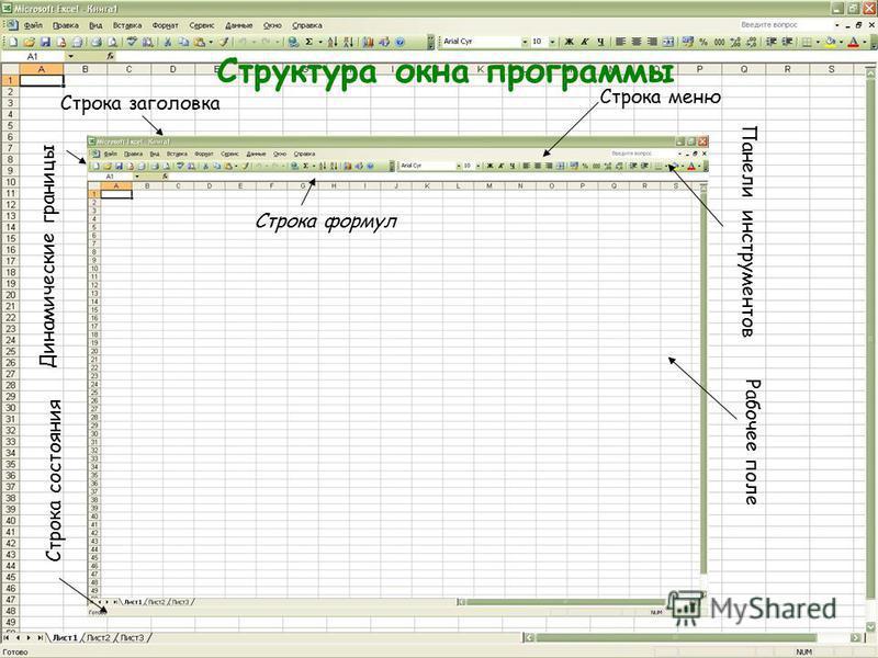 Структура окна программы Динамические границы Строка заголовка Строка меню Панели инструментов Строка состояния Строка формул Рабочее поле