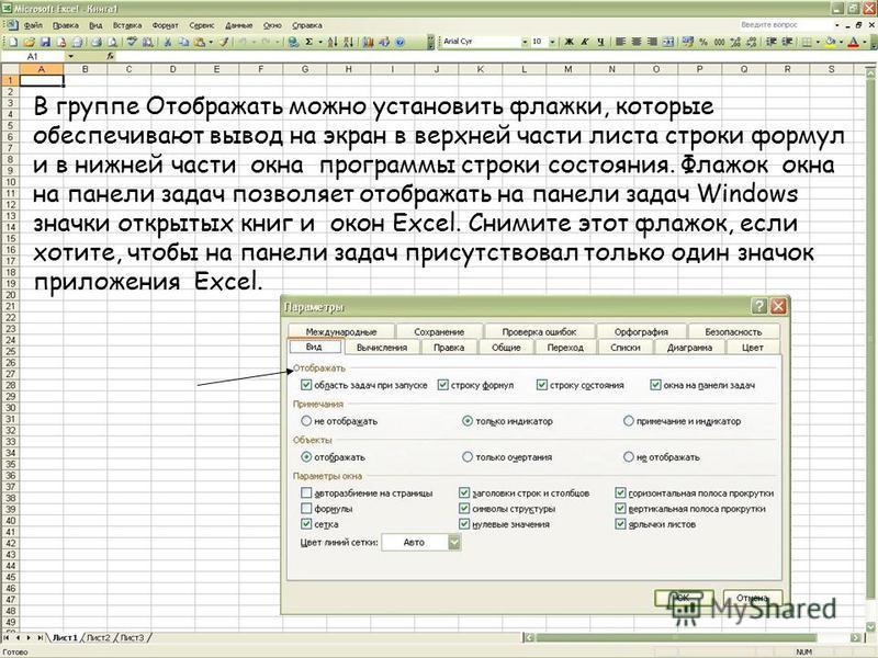 В группе Отображать можно установить флажки, которые обеспечивают вывод на экран в верхней части листа строки формул и в нижней части окна программы строки состояния. Флажок окна на панели задач позволяет отображать на панели задач Windows значки отк