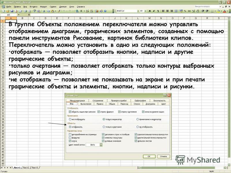 В группе Объекты положением переключателя можно управлять отображением диаграмм, графических элементов, созданных с помощью панели инструментов Рисование, картинок библиотеки клипов. Переключатель можно установить в одно из следующих положений: отобр