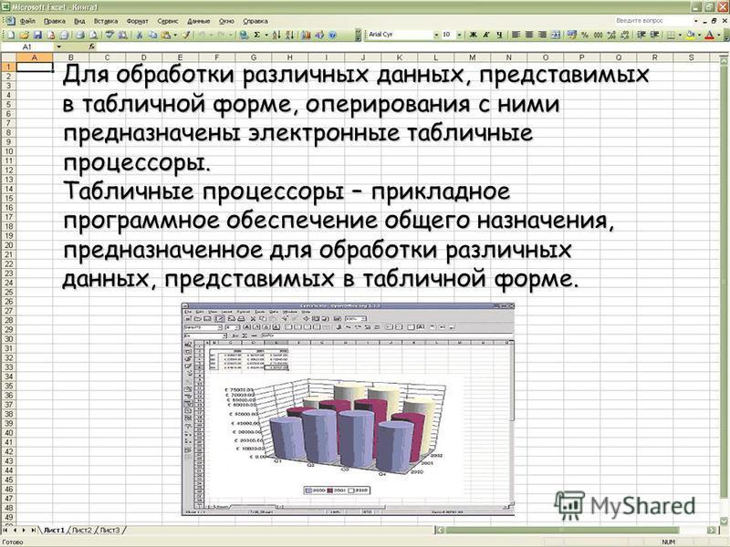 Для обработки различных данных, представимых в табличной форме, оперирования с ними предназначены электронные табличные процессоры. Табличные процессоры – прикладное программное обеспечение общего назначения, предназначенное для обработки различных д