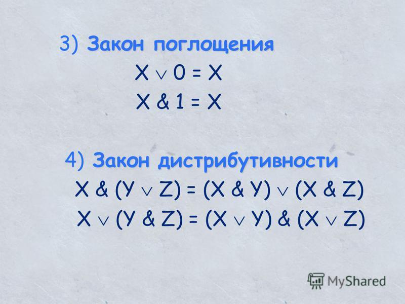 Закон поглощения 3) Закон поглощения X 0 = X X & 1 = X Закон дистрибутивности 4) Закон дистрибутивности X & (Y Z) = (X & Y) (X & Z) X (Y & Z) = (X Y) & (X Z)