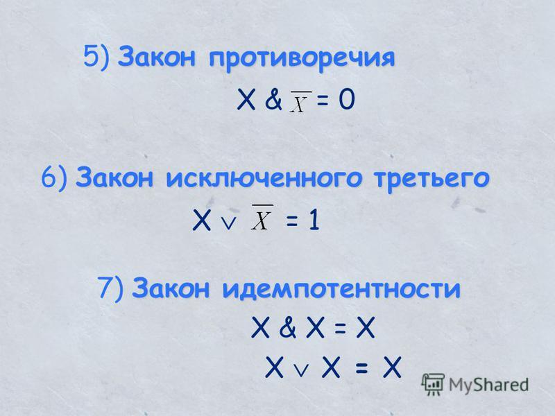 Закон противоречия 5) Закон противоречия X & = 0 Закон исключенного третьего 6) Закон исключенного третьего X = 1 Закон идемпотентности 7) Закон идемпотентности X & X = X X X = X