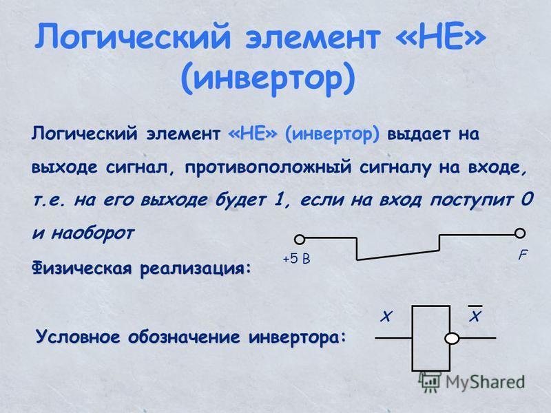 Логический элемент «НЕ» (инвертор) «НЕ» Логический элемент «НЕ» (инвертор) выдает на выходе сигнал, противоположный сигналу на входе, т.е. на его выходе будет 1, если на вход поступит 0 и наоборот Физическая реализация: +5 В F Условное обозначение ин