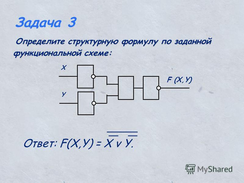 Задача 3 Определите структурную формулу по заданной функциональной схеме: Определите структурную формулу по заданной функциональной схеме: Х Y F (X,Y) Ответ: F(X,Y) = X v Y.