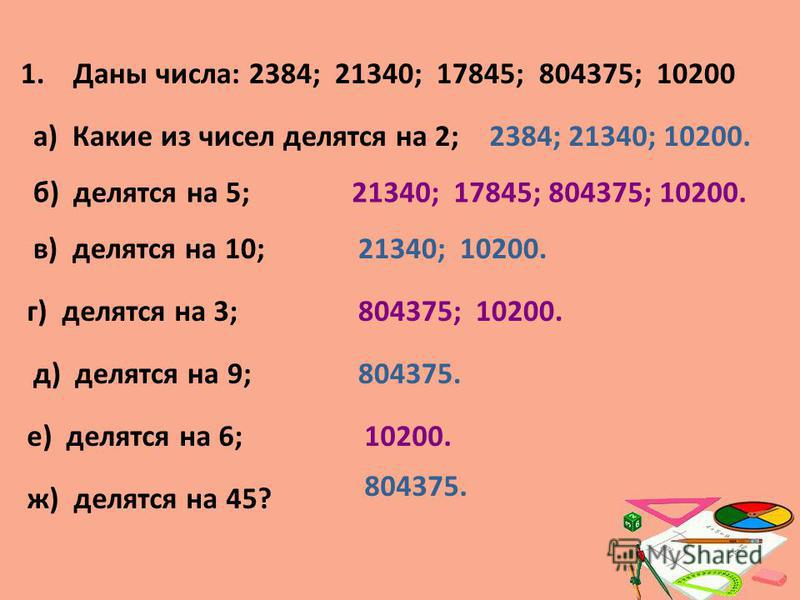1. Даны числа: 2384; 21340; 17845; 804375; 10200 а) Какие из чисел делятся на 2; б) делятся на 5; г) делятся на 3; в) делятся на 10; д) делятся на 9; е) делятся на 6; ж) делятся на 45? 21340; 17845; 804375; 10200. 2384; 21340; 10200. 21340; 10200. 80