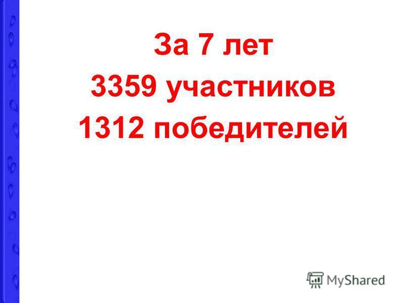 За 7 лет 3359 участников 1312 победителей